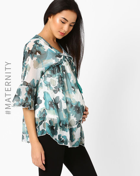 Maternity Top With Tasselled Tie-Up By Oxolloxo ( Offwhite )