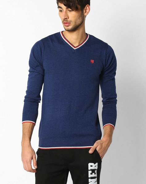 V-neck Pullover With Ribbed Hems By TEAM SPIRIT ( Blue )