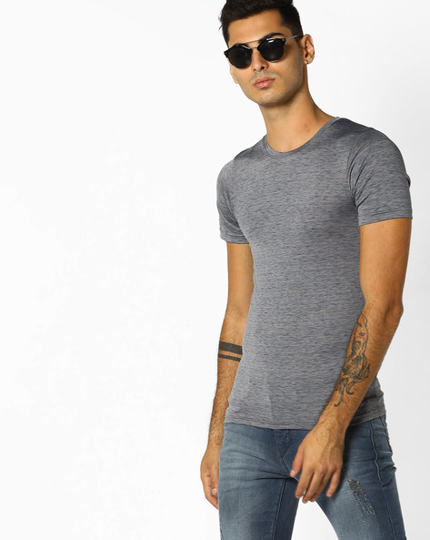 Heathered Slim Fit T-shirt By ADAMO LONDON ( Black )