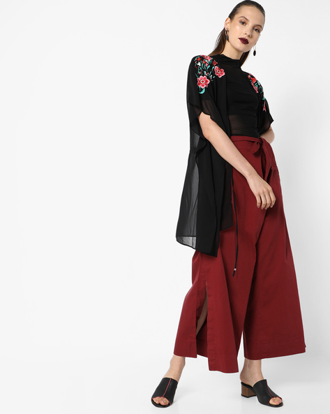 Floral Print Sheer Cover-Up By Oxolloxo ( Black )