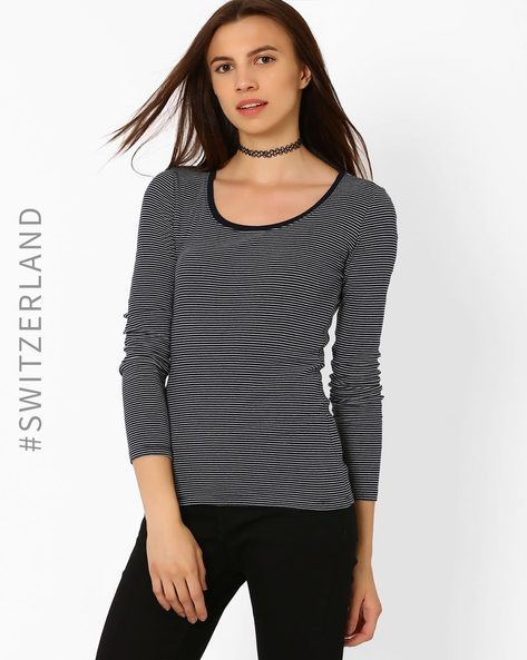 Striped Round-Neck T-shirt By TALLY WEiJL ( Navyblue )