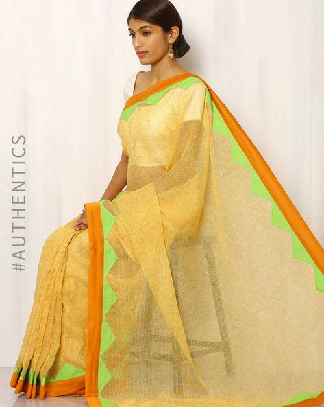 Hand Block Print Kota Saree With Patch Work By Indie Picks ( Yellow )