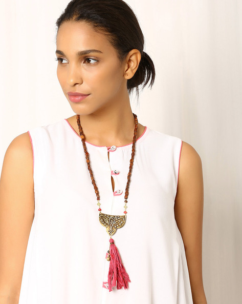 Handcrafted Brass And Wood Necklace By Indie Picks ( Brown )