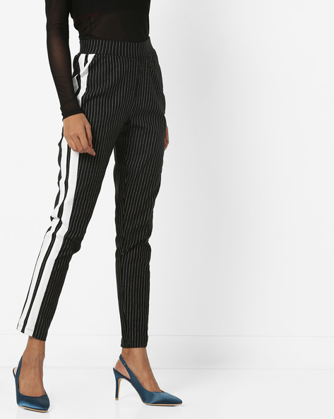 Striped Ankle-Length Trousers By AJIO ( Black ) - 460152988001