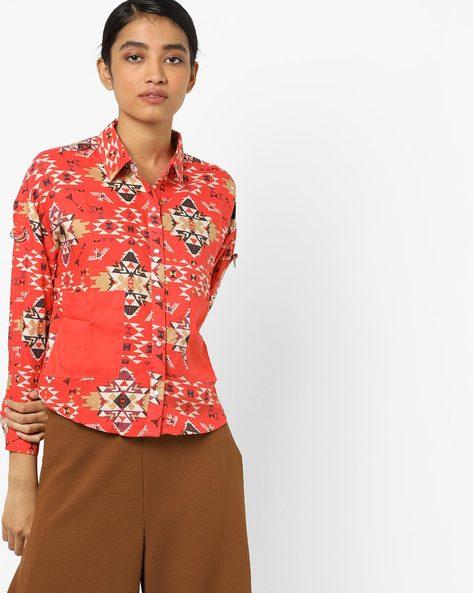 Printed Shirt With Insert Pocket By AJIO ( Orange )