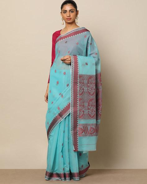Mercerised Cotton Buti Saree With Contrast Border By Indie Picks ( Lightblue )