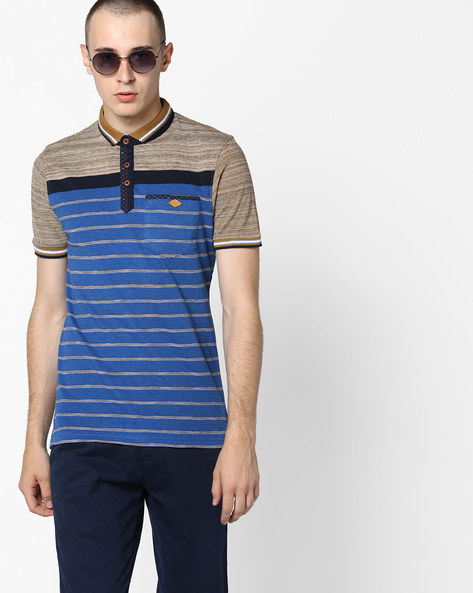 Striped Polo T-shirt With Vented Hem By Fort Collins ( Blue )