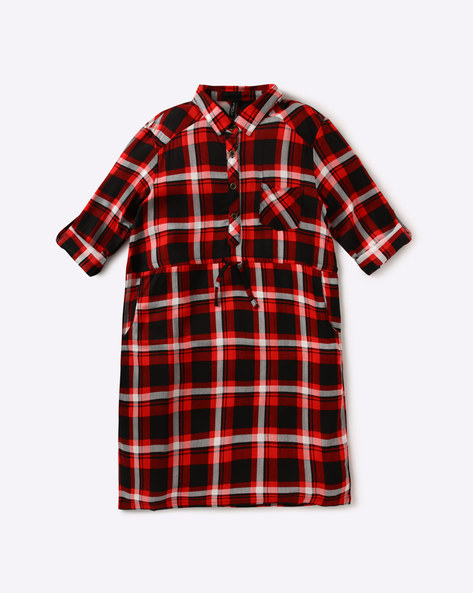 Checked Shirt Dress By RIO GIRLS ( Red )