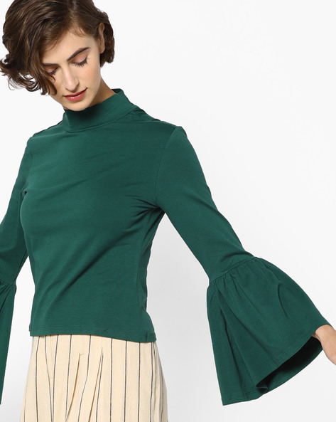 High-Neck Top With Bell Sleeves By AJIO ( Green )