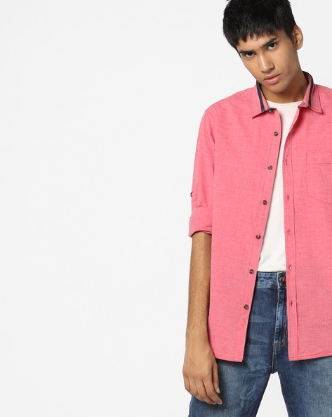 Slim Fit Shirt With Patch Pocket By AJIO ( Red )