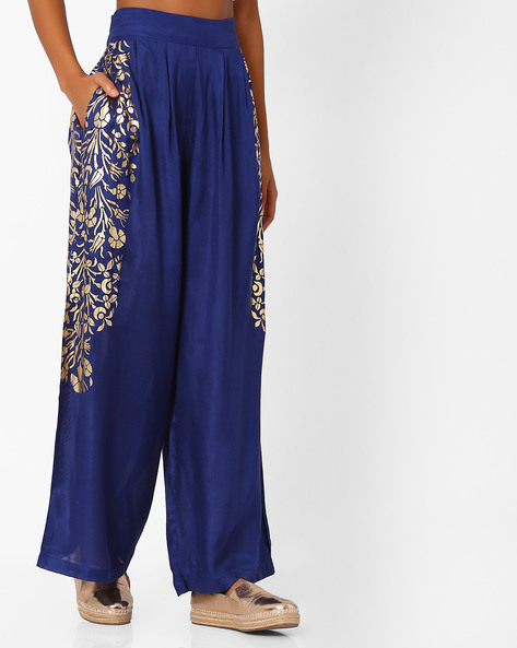 Printed Palazzo Pants With Pleats By Akkriti By Pantaloons ( Blue )