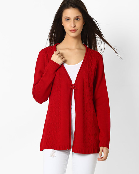 Patterned Cardigan With Button-and-Loop Closure By AVAASA MIX N' MATCH ( Red )