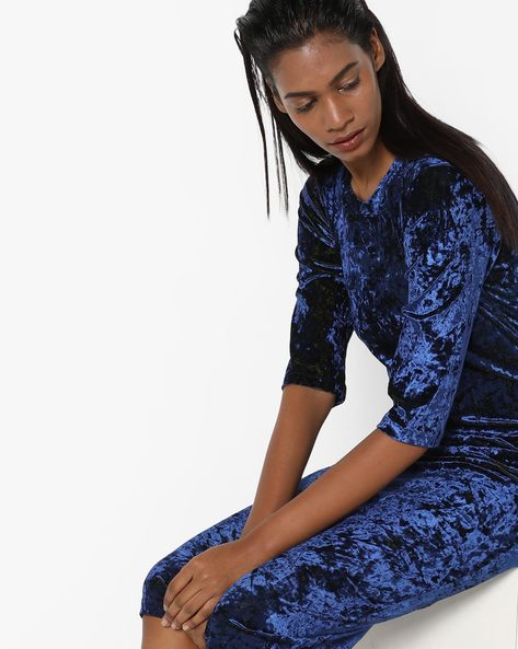 Velvet Bodycon Midi Dress By Sassafras ( Blue )