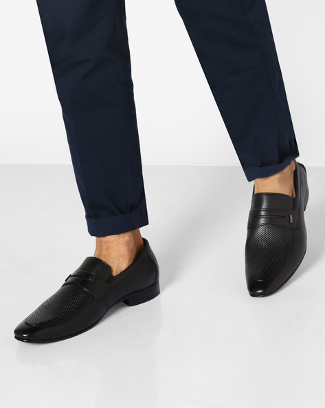 Genuine Leather Panelled Shoes By VALENTINO ( Black )