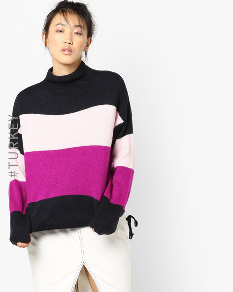 Colourblock High-Neck Pullover By TRENDYOL ( Navy )