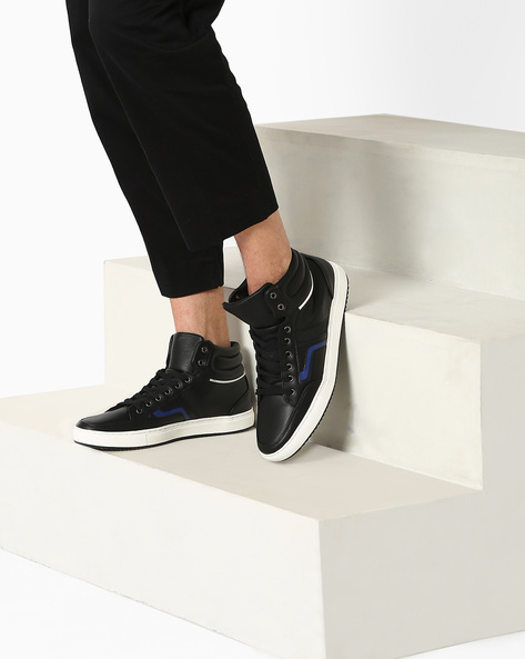 Sneakers With Lace-Up Styling By AJIO ( Black )