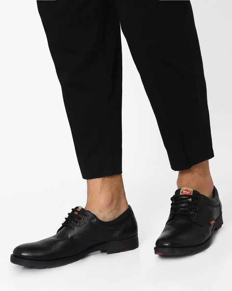 Genuine Leather Lace-Up Shoes By Lee Cooper ( Black )