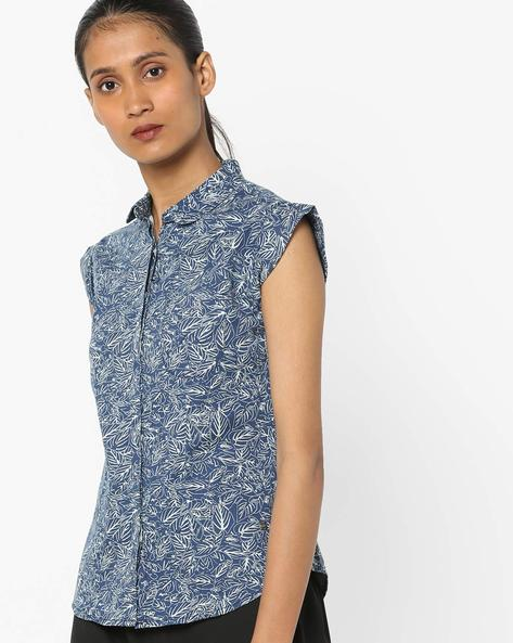 Leaf Print Shirt With Cap Sleeves By WRANGLER ( Multi )