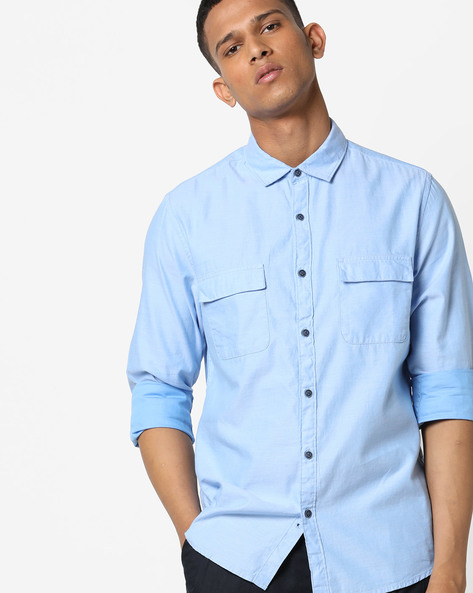 Slim Fit Shirt With Flap Pockets By AJIO ( Blue )