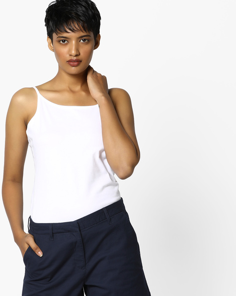 Knitted Camisole Top By PE WW Casual ( White )