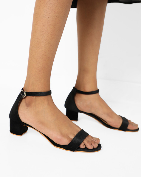 Chunky Heel With Side Buckle By MFT Couture ( Black )