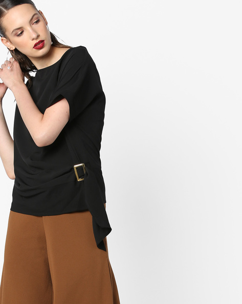 Boxy Top With Drop Shoulder Sleeves By AJIO ( Black )