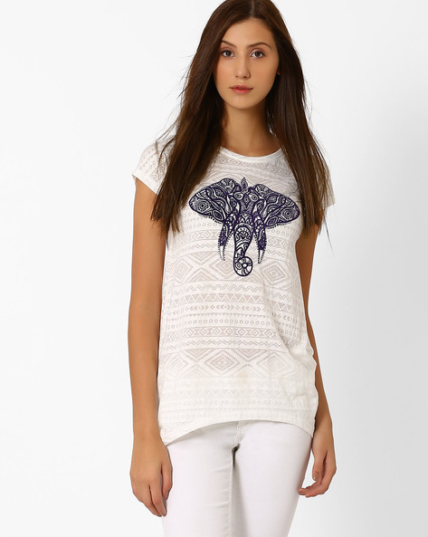 Printed Top With Dipped Hem By Ajile By Pantaloons ( Offwhite )