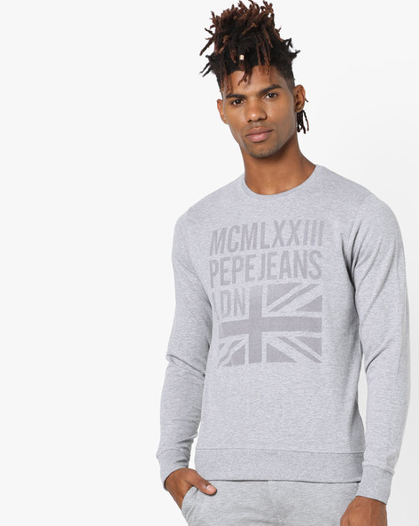 Typographic Print Crew-Neck Sweatshirt By Pepe Jeans ( Grey )
