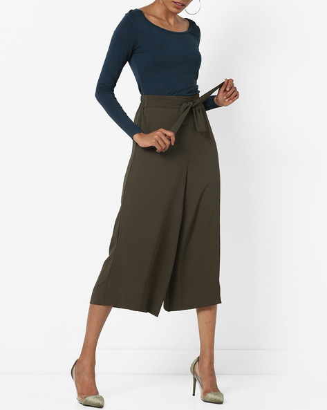 Mid-Rise Culottes With Drawstring Semi-Elasticated Waist By CODE By Lifestyle ( Olive )