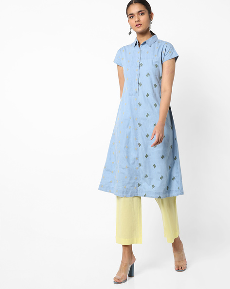 Embroidered Denim Kurta With Button Placket By AJIO ( Ltblue )