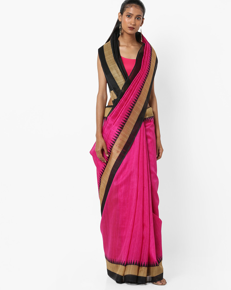 Textured Saree With Contrast Border By Florence ( Pink )