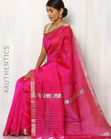 Handwoven Mangalgiri Cotton Silk Saree By Indie Picks ( Fuchsia ) - 460013286001