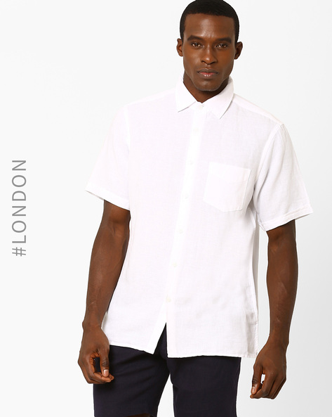 Linen Shirt With Short Sleeves By Marks & Spencer ( White )