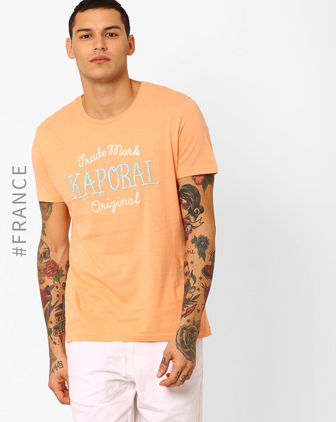 Crew-Neck T-shirt With Embroidered Branding By Kaporal ( Orange )