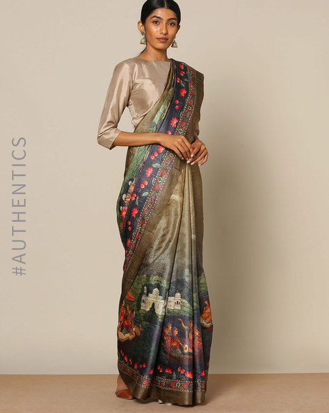 Designer Pure Silk Tussar Mythological Print Saree By Rudrakaashe-MSU ( Green ) - 460128285001