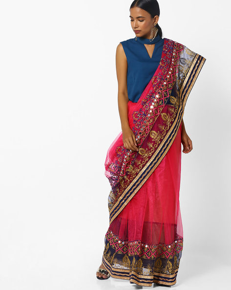 Net Saree With Designer Zari & Resham Embroidery By CHHABRA 555 ( Rose )