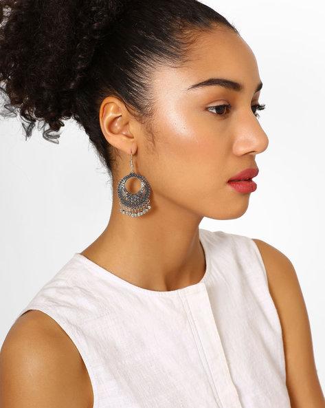 Chandbali Earrings With Fish-Hook Ear Wires By Fida ( Silver )