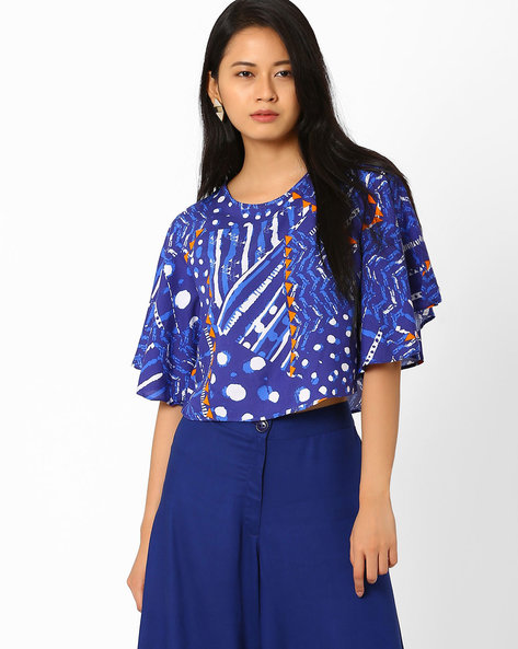 Printed Anti-Fit Crop Top By Global Desi ( Blue )