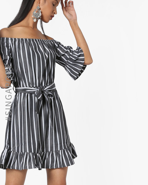 Striped Off-Shoulder Shift Dress By MDS ( Black )