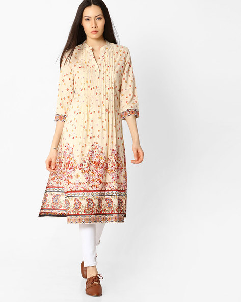 Printed Kurta With Pintucks By Rain & Rainbow ( Cream )