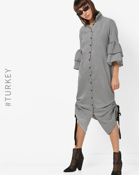 Striped Shirt Dress With Layered Bell Sleeves By TRENDYOL ( Black )