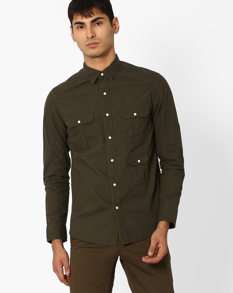 Slim Biker Shirt With Pintuck Patches By AJIO ( Olive )