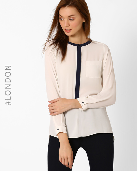 Panelled High-Low Top By Marks & Spencer ( Cream )