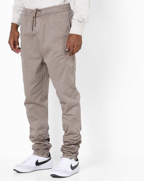 Slim Fit Cotton Twill Joggers By AJIO ( Stone )