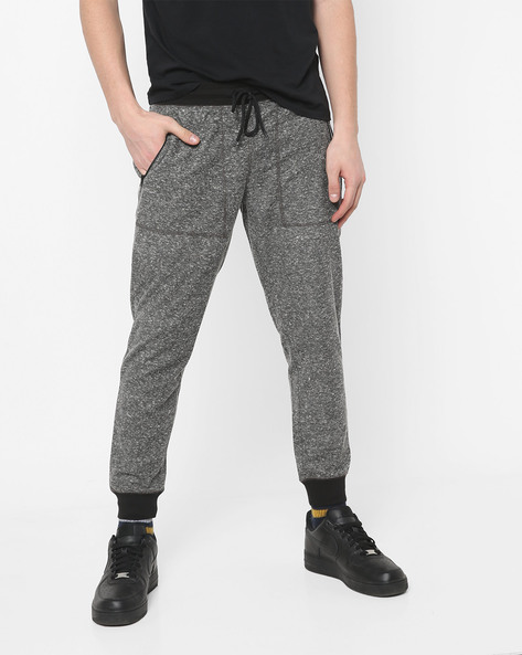 Slim Heathered Joggers With Drawstring Waist By AJIO ( Black )