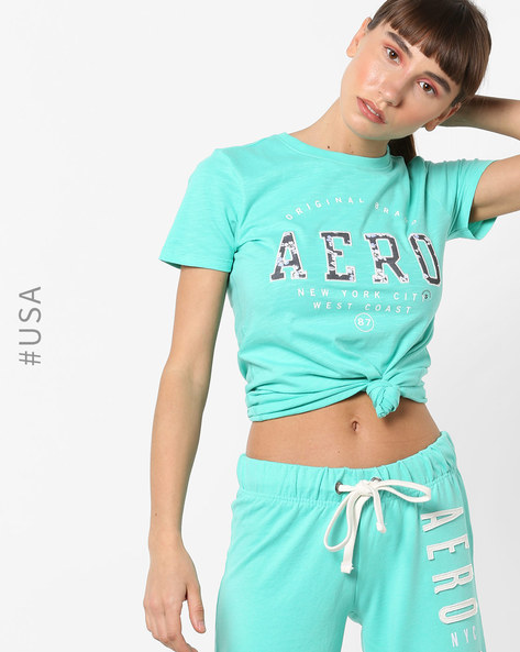 Heathered Crew-Neck T-shirt With Branding By Aeropostale ( Aqua )