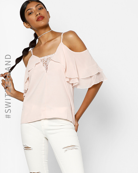 Cold-Shoulder Top With Lace Panel By TALLY WEiJL ( Peach )