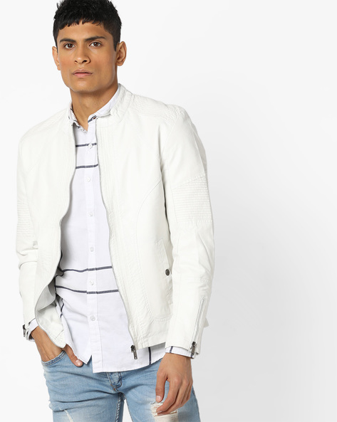 Slim Fit Biker Jacket With Band Collar By The Indian Garage Co ( White )