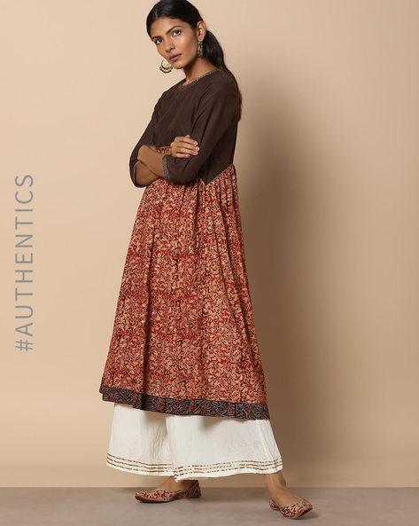 Kalamkari Handblock Print Cotton Kurta By Indie Picks ( Red ) - 460052244001