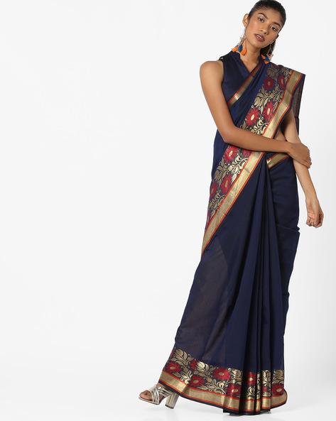 Floral Print Saree With Zari Border By TRIVENI ( Blue )